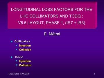 Longitudinal Loss Factors of Collimators and TCDQ