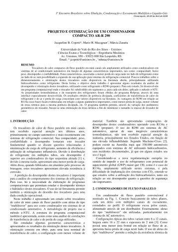 projeto e otimização de um condensador compacto ar-r 290 - Unisinos