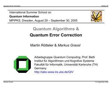 Quantum Error-Correcting Codes