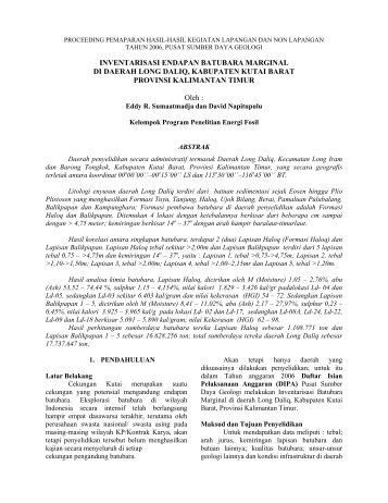 Inventarisasi Endapan Batubara Marginal di Daerah Long Daliq ...