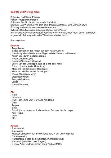 Begriffe und Piercing Arten Braunüle: Nadel zum ... - Hand of Art