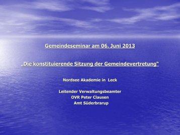 Die konstituierende Sitzung der Gemeindevertretung - Nordsee ...