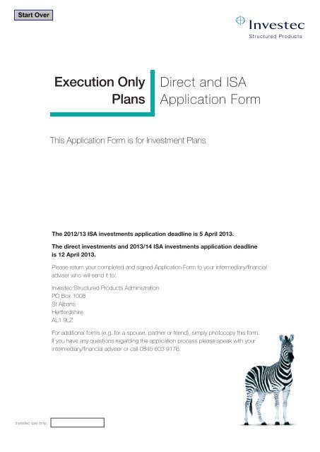 Execution Only Plans Direct and ISA Application Form