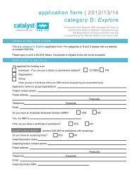 application form - Community Arts Network Western Australia