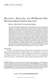 religiosity, drug use, and hiv-related risk behaviors among heroin ...