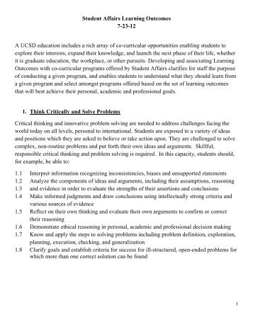 Student Affairs Learning Outcomes 7-23-12 A UCSD ... - Blink