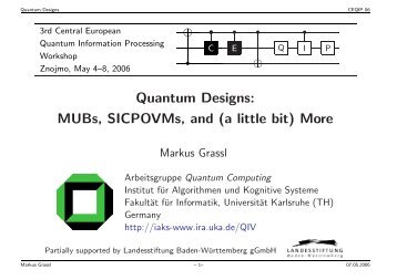 Quantum Designs: MUBs, SICPOVMs, and (a little bit) More