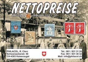 Philacol, R. Clerc - Nettopreise Januar II 2012