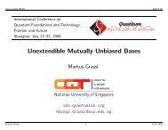 Markus Grassl: Unextendible Mutually Unbiased Bases