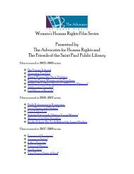 Women's Human Rights Film Series Presented by The Advocates for ...