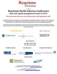 Reactions North America Conference Risk and capital management ...