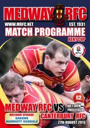 mAtcH PrOGrAmme - Medway Rugby Football Club