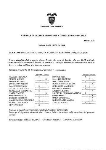 VERBALE DI DELIBERAZIONE DEL CONSIGLIO ... - Utgpistoia.it