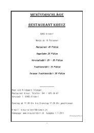Menüvorschläge Restaurant kreuz - kreuzaltdorf.ch