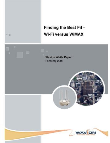 Finding the Best Fit - Wi-Fi versus WiMAX - Mobius Consulting