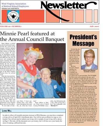 Headlines from the Fall 2010 WVARSE Newsletter - West Virginia ...