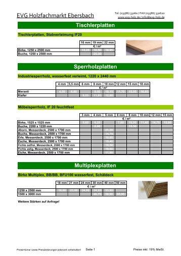 Plattenwerkstoffe EVP - Drewno EVG