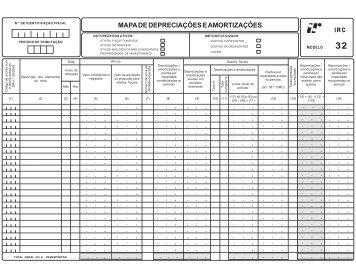 MAPA DE DEPRECIAÇÕES E AMORTIZAÇÕES - Portal das Finanças