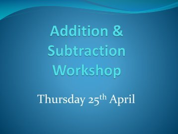 Addition & Subtraction Workshop - Great Missenden