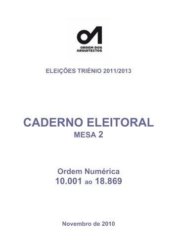CADERNO ELEITORAL - Ordem dos Arquitectos