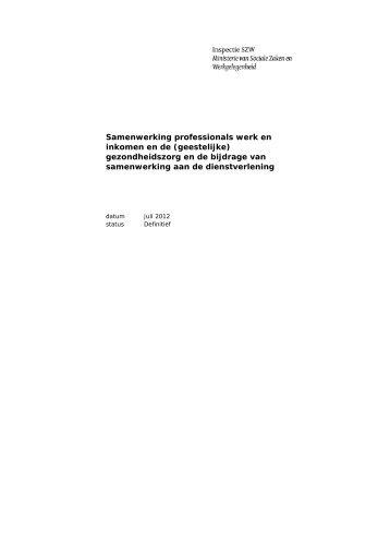 Samenwerking professionals werk en inkomen en de - Inspectie SZW