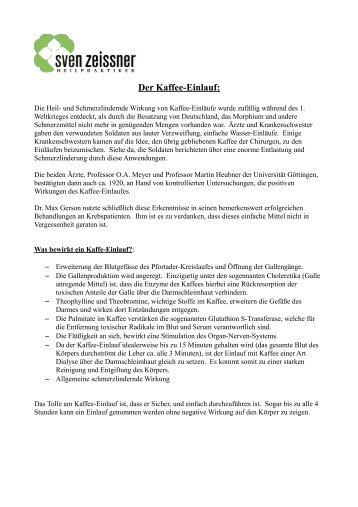 Der Kaffee-Einlauf: - Sven Zeissner