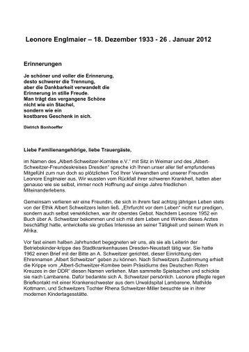 Leonore Englmaier - Albert-Schweitzer-Freundeskreis Dresden