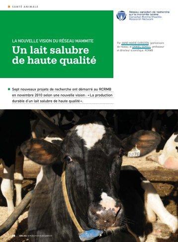 Un lait salubre de haute qualité - Faculté de médecine vétérinaire