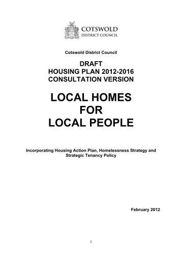 Appendix A - Cotswold District Council draft housing plan 2012-2016