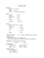 Formulas and Tables Perimeter: Rectangle: P = 2W + 2L Square: P ...