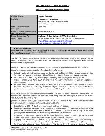 Lancaster UNESCO Chair Annual Progress Report - UK National ...