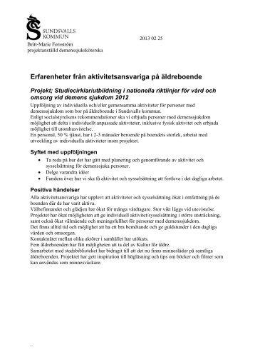 Erfarenheter från aktivitetsansvariga på äldreboende - Sundsvall