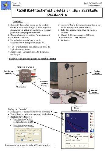 Manip de cours sur les oscillateurs (chap 13, 14 et 15) - Physagreg