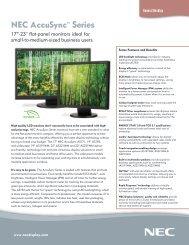 AccuSync Series Specification Brochure - NEC Display Solutions