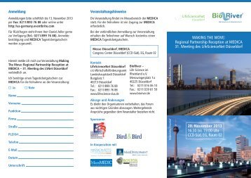 Agenda und Anmeldeformular - LifeScienceNet Düsseldorf