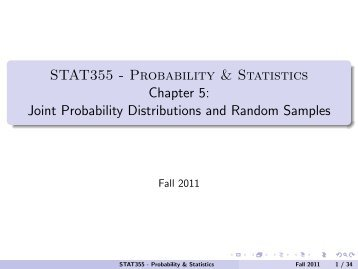 STAT355 - Probability & Statistics Chapter 5: Joint Probability ...
