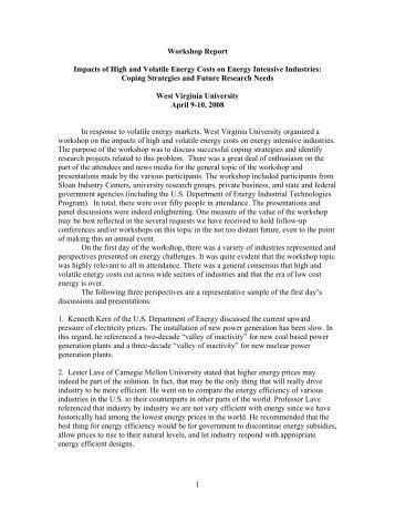 Workshop Report - Industries of the Future - West Virginia