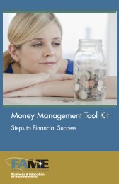 FAME Money Management Tool Kit - Finance Authority of Maine
