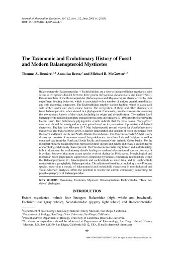 The Taxonomic and Evolutionary History of Fossil and Modern ...