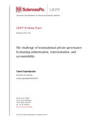 The challenge of transnational private governance ... - Sciences Po