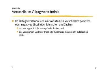 Vorurteile im Alltagsverständnis - Ploecher.de
