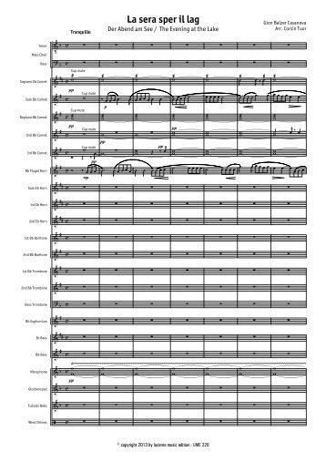La sera sper il lag - Score.MUS - Lucerne Music Edition