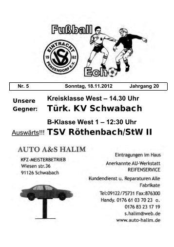 Türk. KV Schwabach Auswärts!!! TSV Röthenbach/StW II