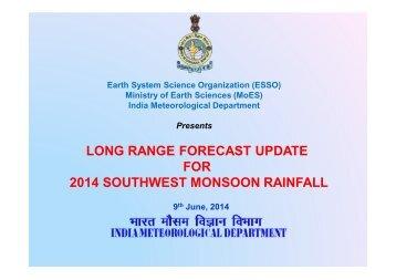LONG RANGE FORECAST FOR 2013 SOUTHWEST ... - (IMD), Pune