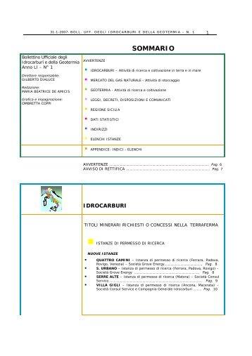 Gennaio 2007 - Unmig - Ministero dello Sviluppo Economico