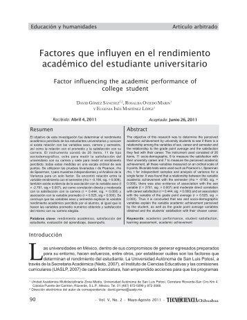 Factores que influyen en el rendimiento académico del estudiante ...