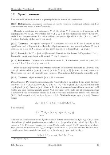 12 Spazi connessi - Matematica e Applicazioni