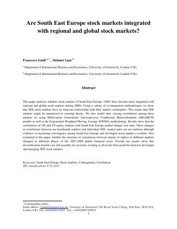 Are South East Europe stock markets integrated with regional and ...