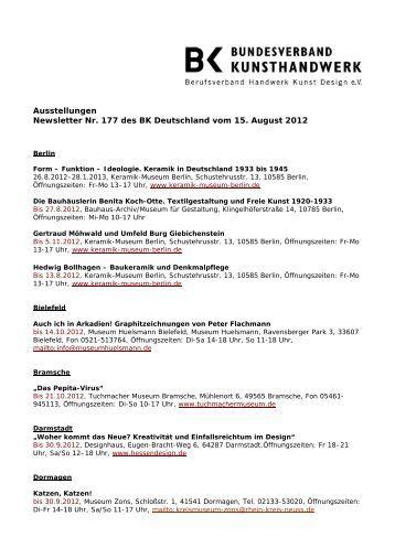 Ausstellungen Newsletter Nr. 177 des BK Deutschland vom 15 ...