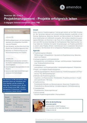 Projektmanagement - Projekte erfolgreich leiten - amendos gmbh